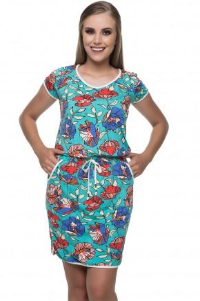 vestido azul malha estampada com bolso funcional hapuk viaevangelica frente
