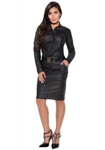 vestido em couro com cinto e botoes personalizado via tolentino viaevangelica frente