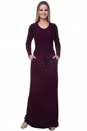 vestido longo listras preto e vinho amarracao cintura detalhe ombro frente