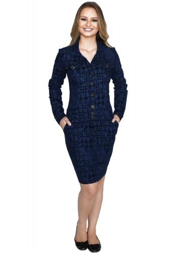 vestido azul escuro e preto estampa jacquard botoes manga longa hapuk viaevangelica frente 2