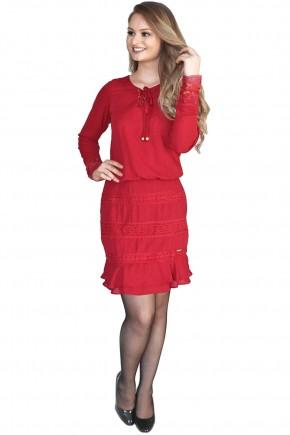 vestido vermelho sino decote v amarracao manga longa punho renda hapuk viaevangelica frente