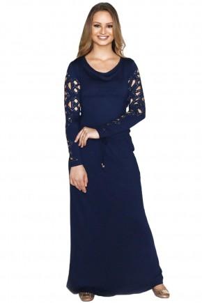 vestido longo azul manga longa detalhes vazados frente