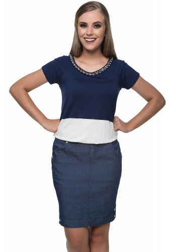 vestido decote pedrarias azul e branco saia jeans hapuk viaevangelica frente
