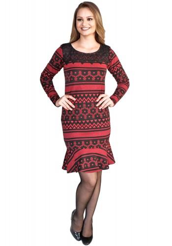 vestido sino preto e vermelho estampa geometrica frente
