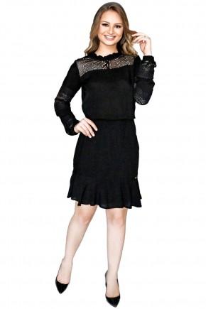vestido sino preto gola alta renda manga longahapuk viaevangelica frente 2