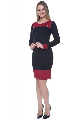 vestido suede preto e vermelho detalhes ilhos manga longa hapuk viaevangelica frente