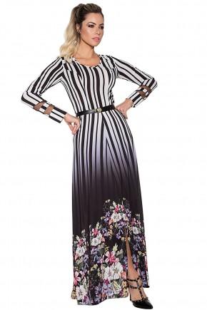 vestido longo degrade listras estampa floral manga longa via tolentino viaevangelica frente