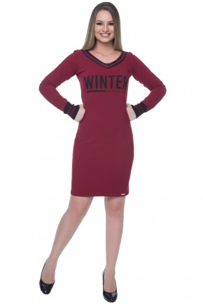 vestido tubinho vinho e preto estampa frase hapuk viaevangelica frente