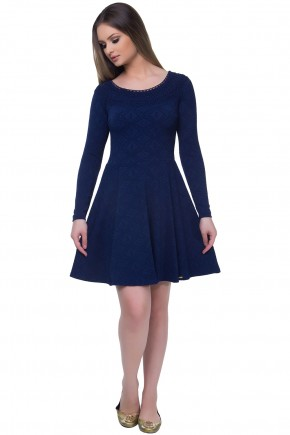 vestido gode azul jacquard manga longa decote guipir hapuk frente