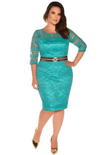 vestido tubinho verde renda bordado plus size fascinius viaevangelica frente