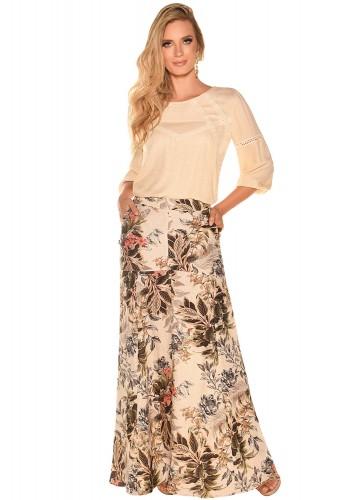 conjunto longo blusa manga longa entremeios saia estampa floral e folhagem fascinius viaevangelica frente