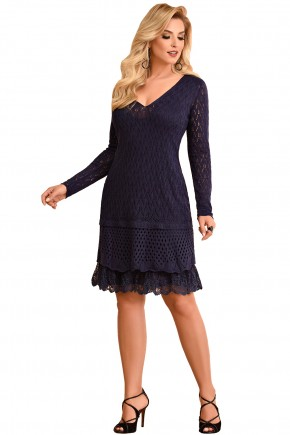 vstido azul tricot manga longa fascinius viaevangelica frente