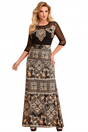 vestido longo estampado manga tule bordado fascinius viaevangelica frente