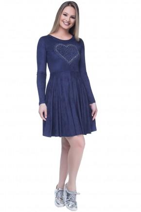 vestido gode azul suede manga longa aplicacoes coracao hapuk viaevangelica frente