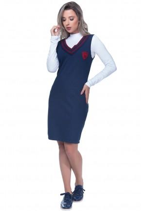 vestido tubinho azul gola v detalhe brasao tendencia college esportiva hapuk viaevangelica frente