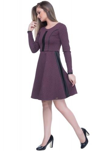 vestido gode roxo estampado detalhes resinados manga longa hapuk viaevangelica frente