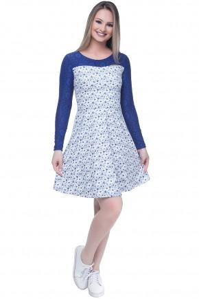 vestido gode estampa coracao azul manga longa guipir hapuk viaevangelica frente