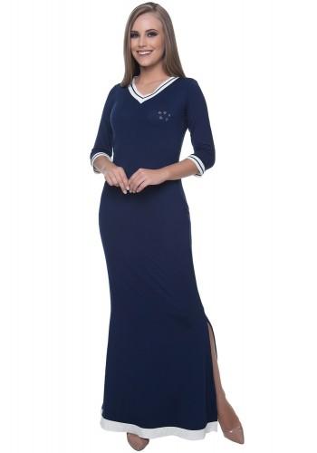 vestido longo azul gola v detalhe branco aplicacoes busto hapuk viaevangelica frente