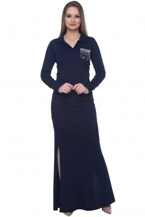 vestido longo azul manga longa gola polo bolso bordado fenda hapuk viaevangelica frente