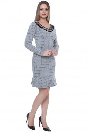 vestido sino cinza xadrez gola bordada hapuk viaevangelica frente