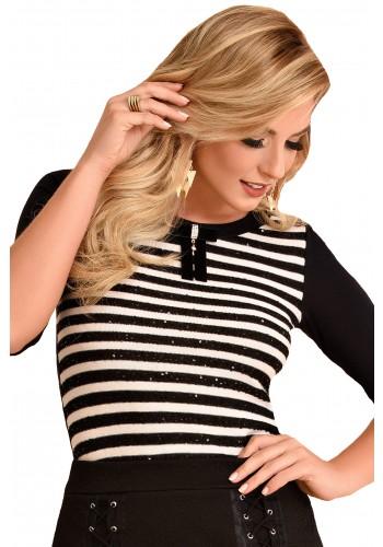 blusa manga longa listras com laco e paetes fascinius viaevangelica frente 2