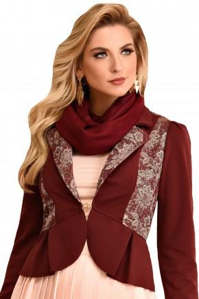casaco com babados e detalhe floral bordo fascinius viaevangelica frente 2