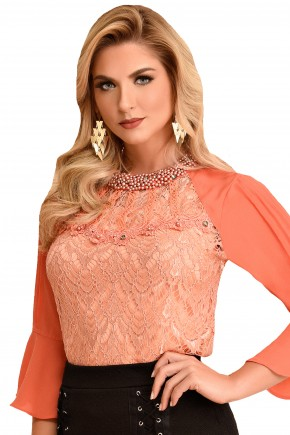 blusa laranjada manga plissada gola bordada fascinius viaevangelica frente 2
