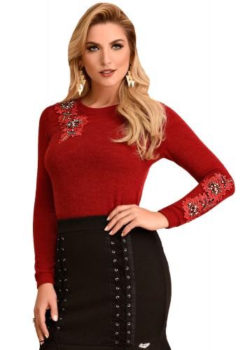 blusa manga longa de la vermelha bordada fascinius viaevangelica frente 1