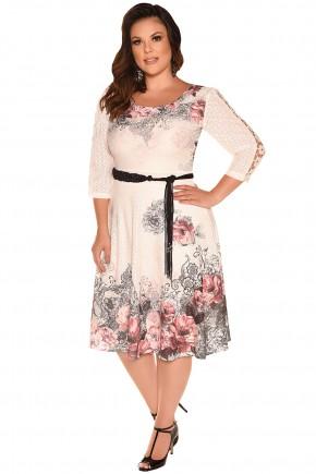 vestido curto com cinto em amarracao estampa floral bege fascinius viaevangelica frente