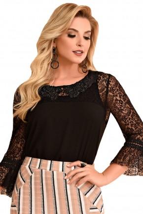 blusa manga plissada manga rendada preto fascinius viaevangelica frente 2