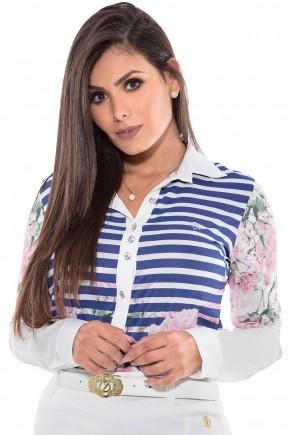 camisa listras azul estampa floral manga longa via tolentino viaevangelica frente detalhe