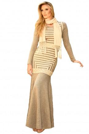 vestido longo manga longa em linho bege com lenco fascinius viaevangelica frente