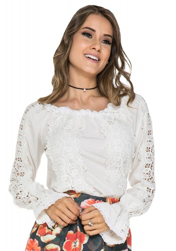 blusa rendada off white manga sino jany pim viaevangelica frente