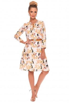 vestido estampa floral com amarracao no decote e com cinto zunna ribeiro viaevangelica frente