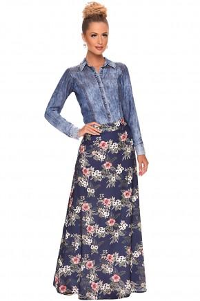 conjunto saia longa estampa floral camisa jeans manga longa zunna ribeiro viaevangelica