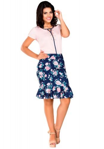 conjunto saia estampada com pedrarias na blusa rose e azul zunna ribeiro viaevangelica frente
