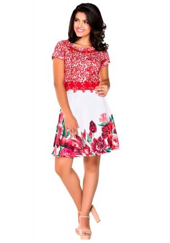 conjunto com saia floral e blusa rendada vermelho zunna ribeiro viaevangelica frente