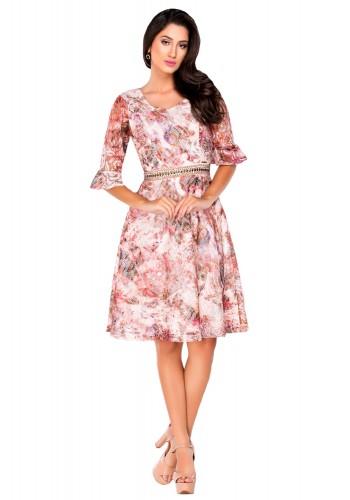 vestido com renda manga plissada detalhe bordado na cintura zunna ribeiro viaevangelica frente