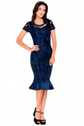 vestido justo sereia de renda azul marinho bordado no decote zunna ribeiro viaevangelica frente