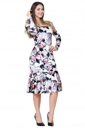 vestido estampa floral em veludo bege tata martello viaevangelica frente