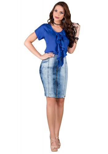 saia jeans tradicional detalhe em ziper frontal titanium viaevangelica frente