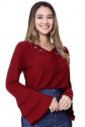 blusa manga flare e babado com amarracao no decote vermelho tata martello viaevangelica frente