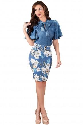 saia tradicional azul estampa floral titanium viaevangelica frente