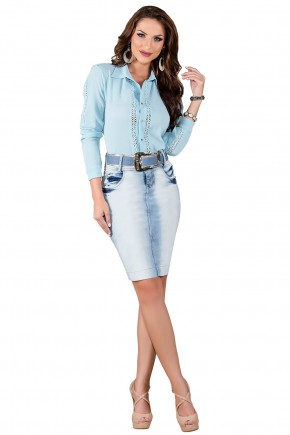 saia tradicional jeans claro degrade titanium viaevangelica frente