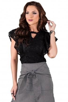 blusa preta renda decote v titanium viaevangelica frente