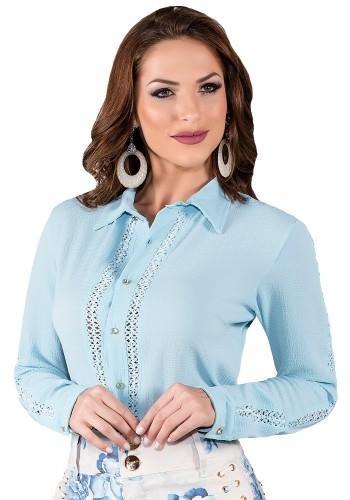 camisa manga longa azul detalhe nas mangas titanium viaevangelica frente 1