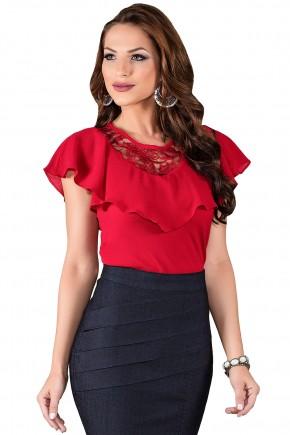blusa vermelha gola babados renda decote v nas costas titanium viaevangelica frente 2