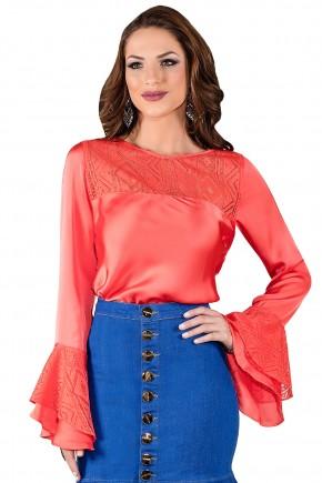 blusa manga longa sino coral renda titanium viaevangelica frente
