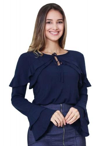 blusa manga em babados azul marinho tata martello viaevangelica frente