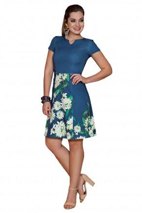 vestido azul estampa floral plus kauly viaevangelica frente